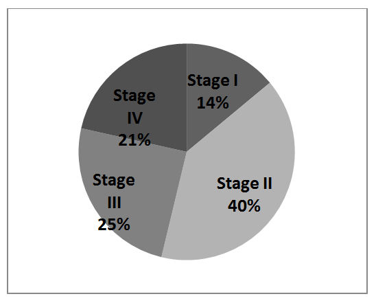 Figure 2. Stage distribution of Colon Cancer Cases from Nizhny Novgorod